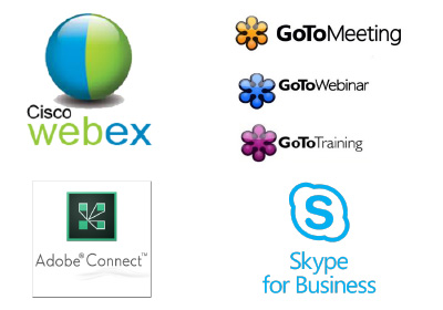 Cisco webex | Adobe Connect | GoTo Meeting | GoTo Webinar | GoTo Training | Skype for business